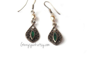 Silver Filigree Dangles with Jade Accents