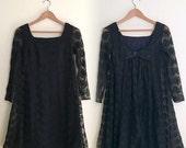 Vintage Black Lace Tent Dress / Little Black Dress /Bow Back Babydoll Dress / Tent Dress /  Mod Mini LBD / 1960s