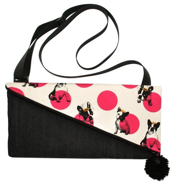 Dogs, Frenchies, polka dots, envelope design, pom pom, cross body bag