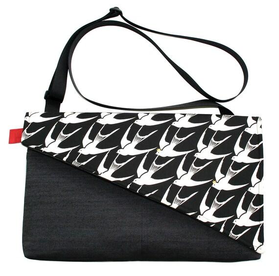 Sparrows, black and white, Messenger bag, cross body bag