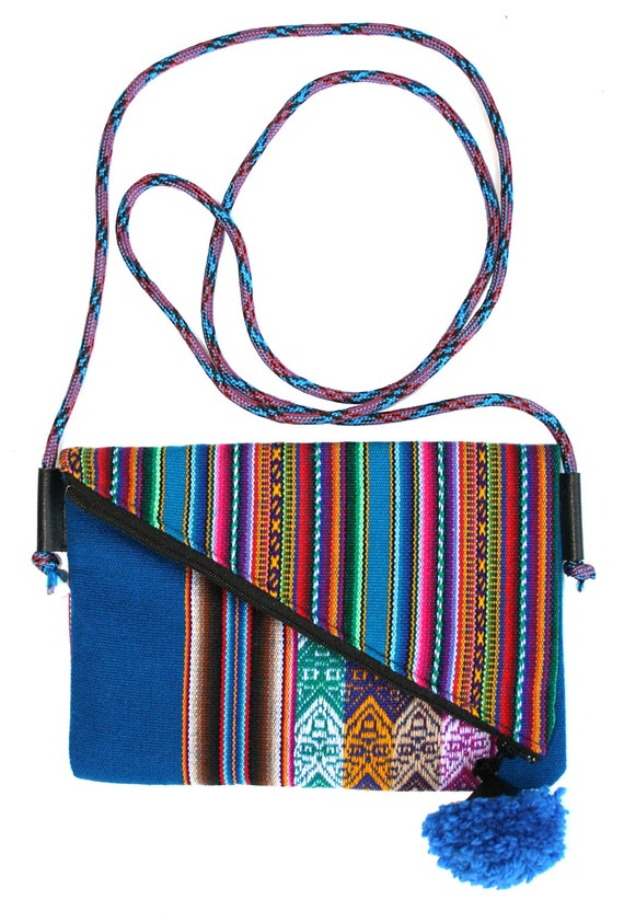 Small, pom pom, adjustable strap, blue, stripes, cross body bag, flat bag