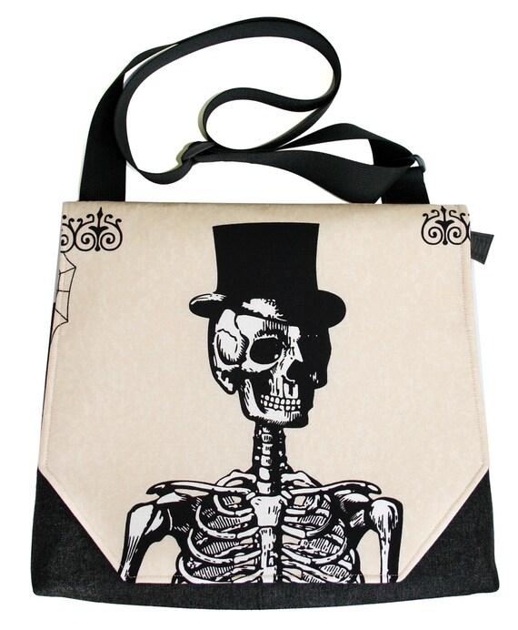 Skeleton, top hat, Halloween, satchel, messenger bag, Dia de los Muertos