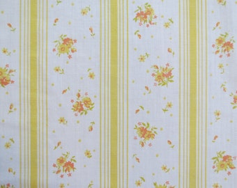 Vintage Sheet Fabric Fat Quarter - Orange Yellow Floral Stripe - 1 FQ