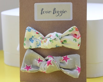 Cath Kidston floral, star, cotton, fabric, hair bows, clips, large