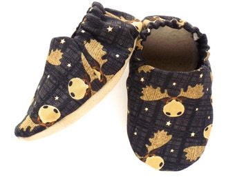 Moose Baby Boy Shoes, Baby Boy Booties, Moose Baby Boy Soft Shoes, Boy Slip On Baby Shoes, Baby Boy Gift, Available in 3 Sizes