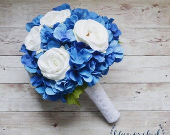 Wedding Bouquet - Blue Hydrangea Bouquet with Cream White Roses