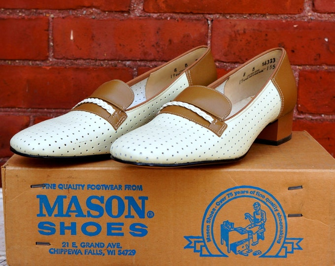 Mod Flats 1960s Vintage Shoes Perforated Cream & Tan Leather Slip Ons Womens Size 8 B Loafers Slipons Retro 60s New in Box Mason Shoe Co USA