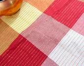 """Vintage Copper Thread Plaid Cotton Tablecloth  62"""" x 86"""" NOS"""