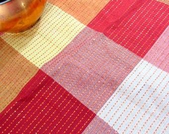 """SALE Vintage Copper Thread Plaid Cotton Tablecloth  62"""" x 86"""" NOS"""