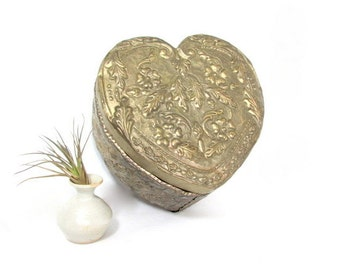 Vintage Handmade Metal Heart Jewelry Box