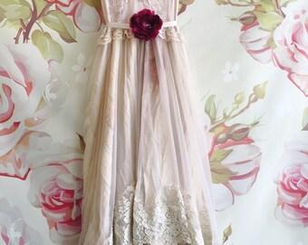 pale mauve lilac & bisque silk organza layered boho wedding dress by mermaid miss kristin