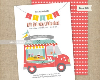 Food Truck Themed Birthday Invitation Set | Printable or Printed