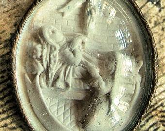 French Circa 1850 St Bernadette Ex Voto Reliquary Religious Meerschaum