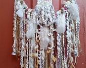 Woven Mini Wall Hanging Dreamcatcher, Wall art, Hoop art, Tapestry, Fiber Art, ready to ship