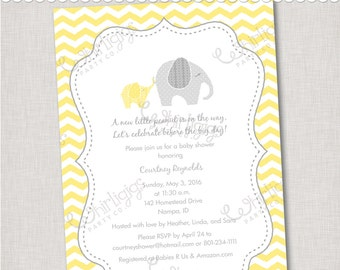 Yellow Elephant Baby Shower Invitation - Printable Digital File or Printed Invitations with Envelopes - FREE SHIPPING