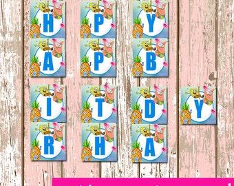 Spongebob Happy Birthday Banner