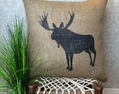 Moose Pillow Cover, Hunting Pillow, Rustic Home Decor, Cabin Decor, Moose Silhouette, Moose Decor, Moose Art, Hunting Cabin Decor