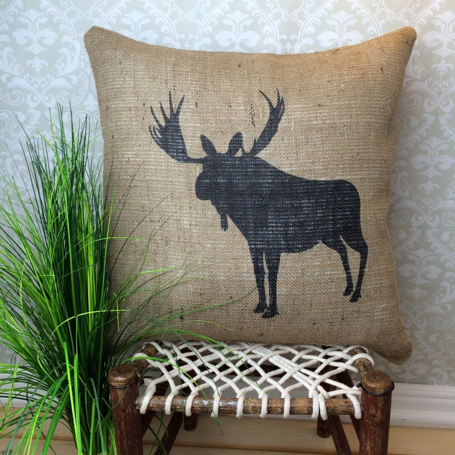 Decorative Moose Pillows : Moose Pillow Cover Hunting Pillow Rustic Home Decor Cabin