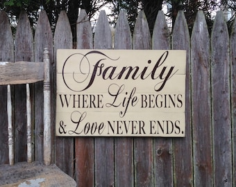 Family Where Life Begins and Love Never Ends Rustic Distressed Pallet Style Sign 16x24