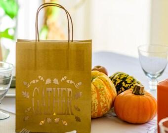 Happy Thanksgiving Paper Lantern - Gather luminaria bag