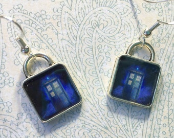 Dr. Who Earrings Tardis Doctor Picture Jewelry  Silver Square