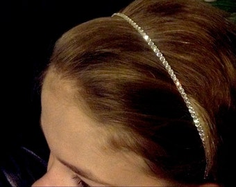 Custom Hair Head Band w/ Swarovski Crystal Minimalist Pageant Prom Bridal Tiara Comb Hairpiece Bling Silver tone Jewelry Wedding Accessory