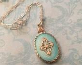 Vintage Guilloché Enamel Locket, Sterling Locket with Aqua Enamel and Aquamarine Chain, Wedding Locket, Gift for Her