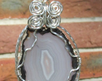 Agate Slice  pendant wrapped in Argentium siliver wire