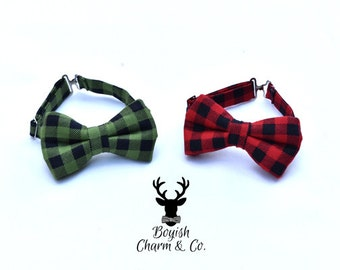 Buffalo Plaid Bow Tie for Boys, Red or Green Buffalo Plaid Bowtie for Boys, Lumber Jack Bowtie, Toddlers Plaid Bow Tie,