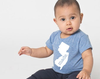 New Jersey 'Roots' or 'Made' Tri Blend Baby T-Shirt - Infant Boy and Girl Tee