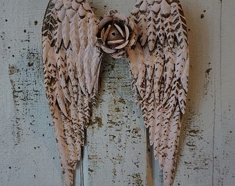 Pink metal angel wings w/ rusty metal rose wall hanging distressed embellished rusty shabby cottage chic home decor anita spero design