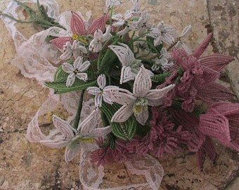 Handmade French beaded flowers bouquet shabby cottage chic antique lilac white beads w/ leaf stems wedding or decor anita spero design
