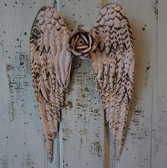 Angel Wings Home Decor: Pink Metal Angel Wings W/ Rusty Metal Rose By AnitaSperoDesign