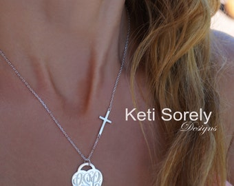Heart Monogram Necklace With Sideways Cross -Engraved Initials Necklace - Heart & Lock - Sterling Silver, Yellow or Rose Gold
