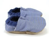 striped baby shoes, blue and white, railroad stripe booties, baby girl shoes baby boy shoes toddler slippers soft sole shoes elastic booties