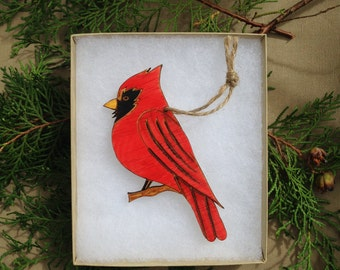 Cardinal Engraved Wood Ornament