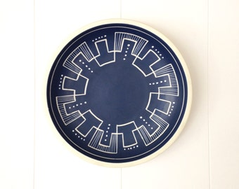 Blue and White Geometric Hand-Painted Bowl, Søholm Denmark Sandvig 2 Series