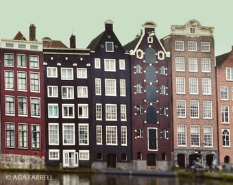 Amsterdam Canal Houses, Architecture Photography, City Art, Large Wall Decor, Fine Art Photography, Brown Wall Art, Amsterdam Print