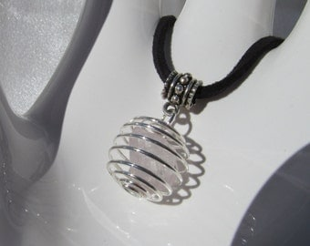 12 mm Pale Pink Danburite Crystal in Swirl Cage Pendant