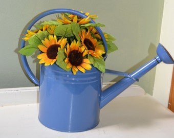 Blue Watering Can Enamel watering can  Planter Farmhouse