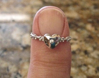 SALE Dainty 925 Sterling Silver Heart Stacking Ring