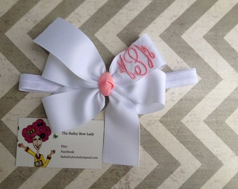 Classic Monogrammed Hair Bow Headband-You Choose Colors