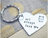 Owl Always Love You Keychain - Owl Keychain - Heart Keyring - I Love You - Best Friends Key Ring