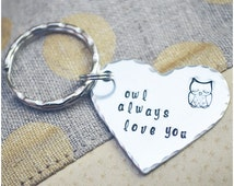 Owl Always Love You Keychain - Owl Keychain - Heart Keyring - I Love You - Best Friends Key Ring