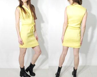 Vintage Yellow Sleeveless Belted Summer Dress