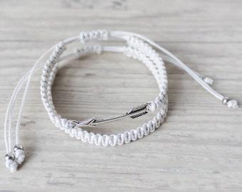 White arrow bracelet set Bohemian bracelet His and her bracelet Sister gift Friendship bracelet Matching couple bracelets - set of 2