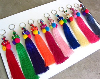 Silky Tassel Keychains Long Silky Tassel Beaded Keychain Purse Charm 20pcs Assorted Colors Wholesale Keychains Wholesale Tassels