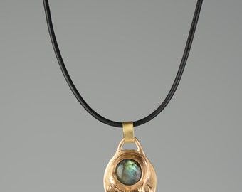 Blue Green Labradorite Gemstone Pendant with Gold Bronze and Sapphire on Black Leather Cord