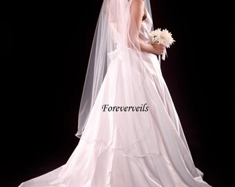 Waltz length veil, 1 layer, white, ivory or diamond white 108 inches wide, 54 inches long