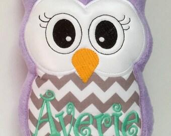 Averie - Ready to Ship - Personalized Purple & Gray Chevron Stuffed Owl Reading Buddy Pillow, Soft Toy